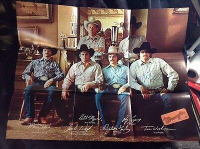 Vintage 1981 Wranglers Jeans Poster Cowboy Bull Riding ,Original VG