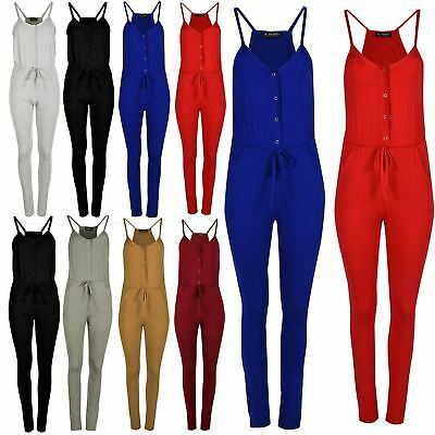 Womens Camisole Front Buttons Muscle Back Pockets Ruched Jumpsuit All In One