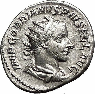 GORDIAN III 240AD  Silver Ancient Roman Coin Felicitas Good luck Cult  i55695