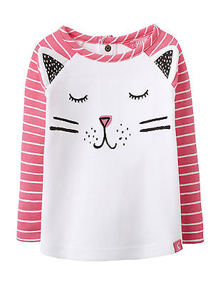 Joules Baby Girls Top - Cat Face - Neon Candy Stripe