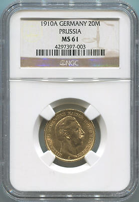1910A German States Prussia, 20 Mark Gold. NGC MS61