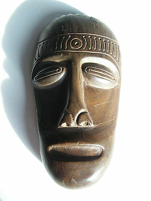 Vintage African Hard-wood Mask - Hand Carved - Signed & Dated - Circa 1988