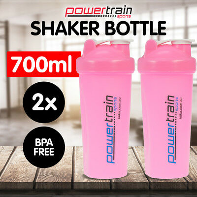 2x PINK GYM PROTEIN SUPPLEMENT DRINK BLENDER MIXER SHAKER SHAKE BOTTLE CUP 700ml