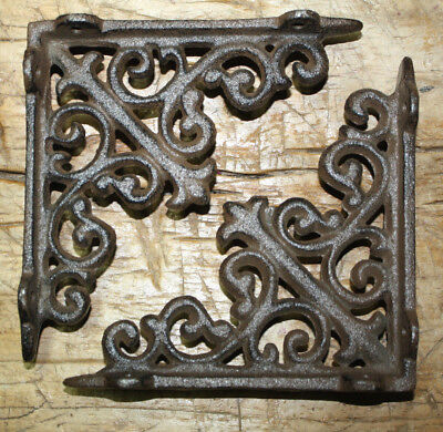 2 Cast Iron Antique Style HD Brackets Garden Braces RUSTIC Shelf Bracket