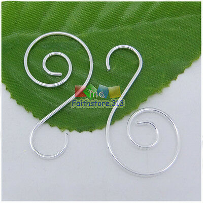 100pcs Silver Plated Swirl Scroll Wire Christmas Tree Ornament Hook Hanger 1.45""