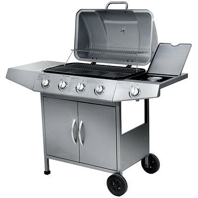 BBQ Gas Grill 4 +1 Side Burner Barbecue Wheels Stainless Steel Outdoor Patio