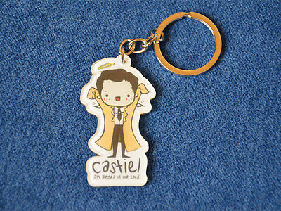 Kawaii Cute Unique Supernatural Anime Castiel Acrylic Figure Keychain Key Ring