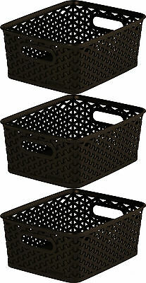 3 x Curver Nestable Rattan Basket Brown Small Storage Plastic Wicker Tray 8L