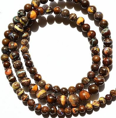 Super Rare Natural Gem Boulder Australian Opal 4 to 7MM Round Beads Necklace 18""