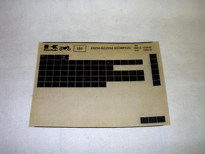 Kawasaki Er250 Er 250 B2  (Z250 Scorpion) Gen Part Catalogue Microfiche