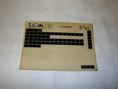 Kawasaki Ke100 Ke 100 B6/b7 Gen Part Catalogue Microfiche