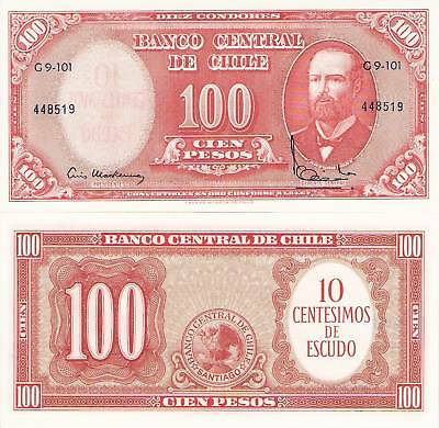CHILE 100 Pesos Overprint 10 cents Banknote UNC World Money Currency BILL p127a