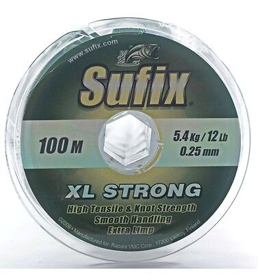 Sufix XL Strong  Monofilament 100m Fishing Line 6lb - 7lb