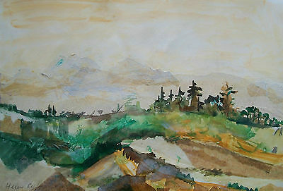 HELEN RYF - Vintage Mixed Media/Collage Landscape Painting - Canada - C. 1990