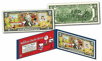 PEANUTS * BE MY VALENTINE, CHARLIE BROWN * Licensed U.S. Legal Tender $2 Bill
