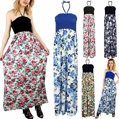 Women Ladies Floral Printed Gathered Bandeau Boobtube Tie Back UK-14 Maxi Dress