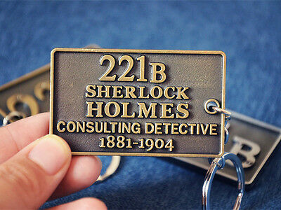 Unique Vintage Sherlock Holmes 221B Consulting Detective Metal Keychain Key Ring