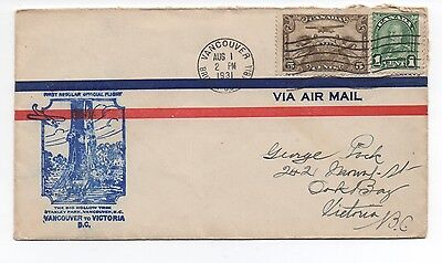 1931 Canada Airmail Cover with Cachet of First Flight Vancouver to Victoria BC