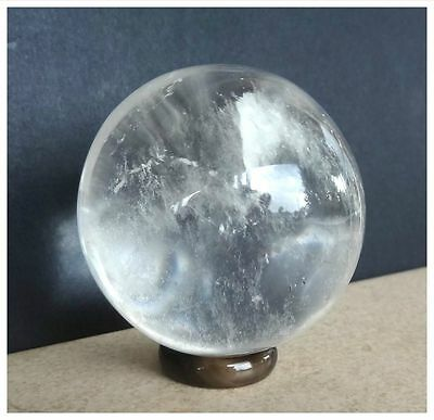 NATURAL CRYSTAL QUARTZ Gemstone Polished SPHERE BALL 194 Grams + AGATE STAND