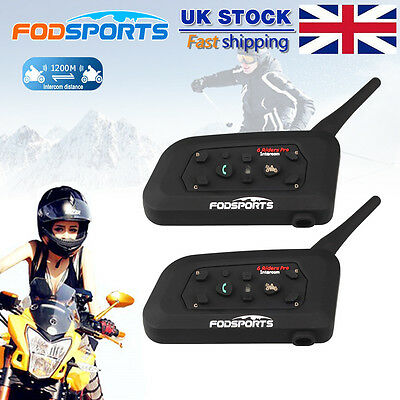 2x 1200M BT Bluetooth Motorcycle Helmet Interphone V6 Intercom Headset 6 Riders