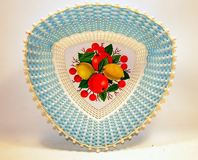 Vintage Plastone No 1150 Made in Greece Plastic Basket Blue