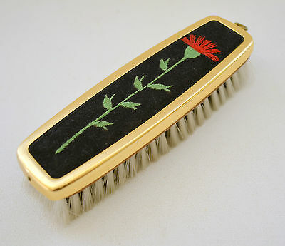 Vintage Vanity Clothes Brush with Flower Embroidered on Velvet with Gold Trim