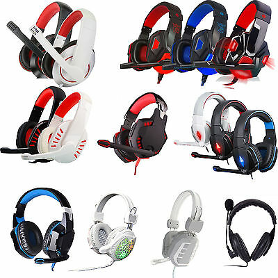 New Gaming Headset Stereo Headband Headphone 3.5mm LED With Mic For PC