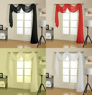 Voile Window Scarf's,voile Drape Scarf,2 Sizes 4 Colours,great Value For Money