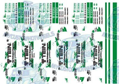 TEIN RACING DECALS - Waterslide Decals for Hot Wheels & 1:64 Model Cars