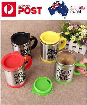 Stainless Auto Mixing Tea Cup Lazy Self Stirring Battery Mug Coffee Office