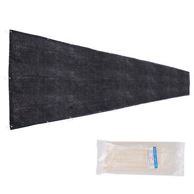 Flat Privacy Fence Screen Mesh 25x6' Black For 6' Tall Fencing Fabric Windscreen