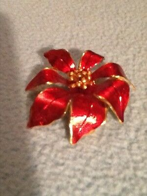 Georgeous Red And Goldtone Cerrito Poinsettia Brooch Pin!