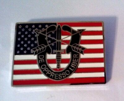 Special Forces & United States Flag Hat Pin ( DE OPPRESSO LIBER )  1 1/8""