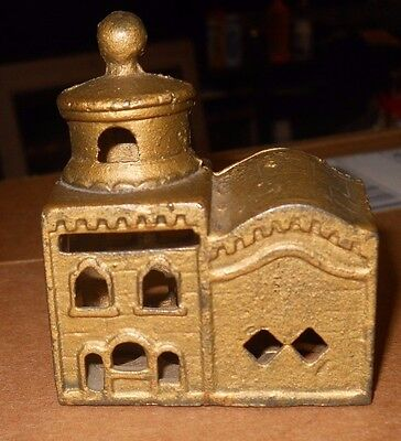 Vintage 1900'S Antique Bank Cast Iron Brass Colored Domed Mosque A.c. Williams