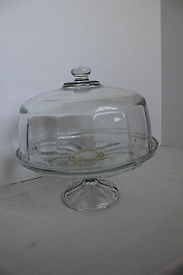 Nice Vintage Panel Glass Domed Cake Plate/Stand/Saver FedEx Shipping!