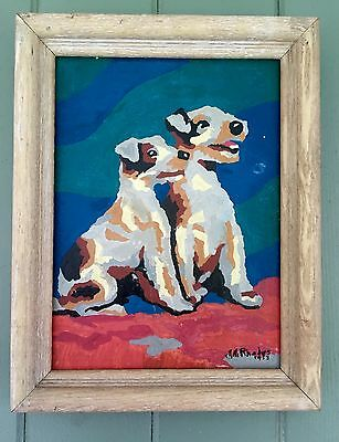 Paint By Numbers Crazy Schnauzer's Dated 1953 & Signed& Framed