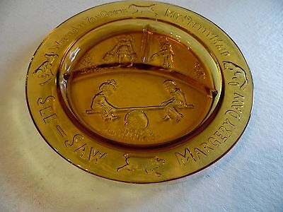 Nursery Rhyme See-Saw Margery Daw Where Are You Going Amber Glass Plate