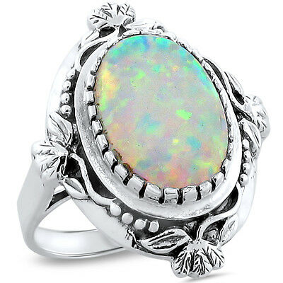 WHITE LAB OPAL ANTIQUE VICTORIAN DESIGN 925 STERLING SILVER RING Sz 10, #222
