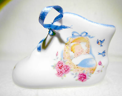 Marlborough Fine Bone China - congratulations baby bootie - blue