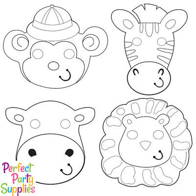 ANIMAL JUNGLE PAPER MASKS ~ Birthday Party Supplies Favors Safari Lion Tiger 8