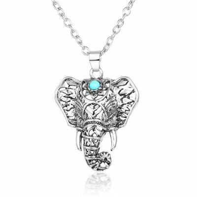 Boho Turquoise Elephant Necklaces Pendants Ethnic Long Sweater Chain Necklace