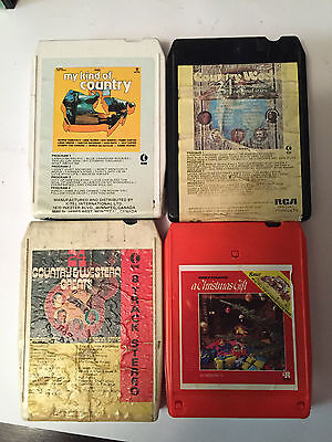 Country Western Music 8 Track Cartridge Tape - Lot of 4 - TESTED