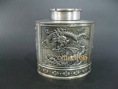 Exquisite hand-carved ORIENTAL OLD TIBET SILVER  dragon tea caddy