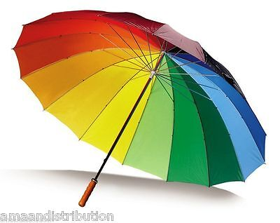 Multiple Large Bright Multi Colourful Rainbow Golf Umbrella - Unisex Parasol