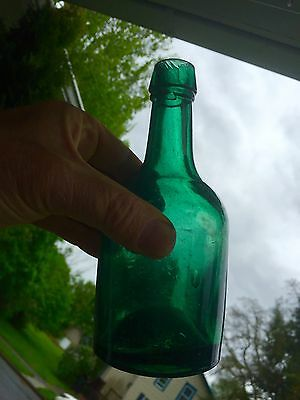 Iron Pontil Teal Soda With Indented Square Label Front Handtooled Beauty!