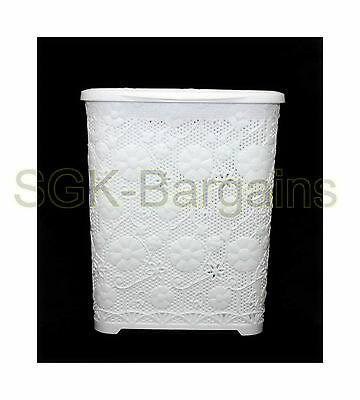 45L Large Rattan Plastic Laundry Bin Washing Multi Storage Basket White Flowers