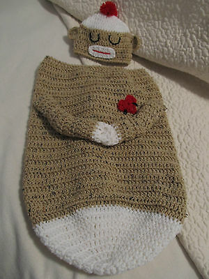 Crochet Sleepy Sock Monkey Papoose/Sac with Hat  - for Newborn OR 3-6 months