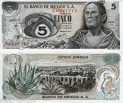 MEXICO 5 Pesos Banknote World Money aUNC Currency p62b Note North America Bill