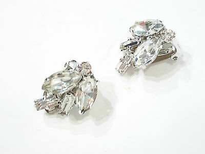 Pair of Vintage Rhinestone Earrings - Clip On - Unsigned - Circa 1950's