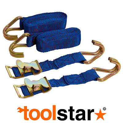 EASY LOCK STRAPS SET 2pce  2M x 25MM - CARGO TIE DOWN SECURING TRANSPORT HOOKS